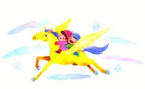 歯科医院のカレンダーハガキ・ペガサスに乗って雪の中を飛んでいく子どもたち