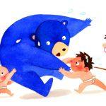 歯科医院のカレンダーハガキ・熊とお相撲をする子ども