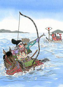 平家物語で有名な弓の名手、那須与一が屋島の戦で平家の掲げる扇を見事打ち落すシーン