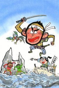 申年の年賀状に描いた鬼ヶ島に切り込む猿の勇しい姿