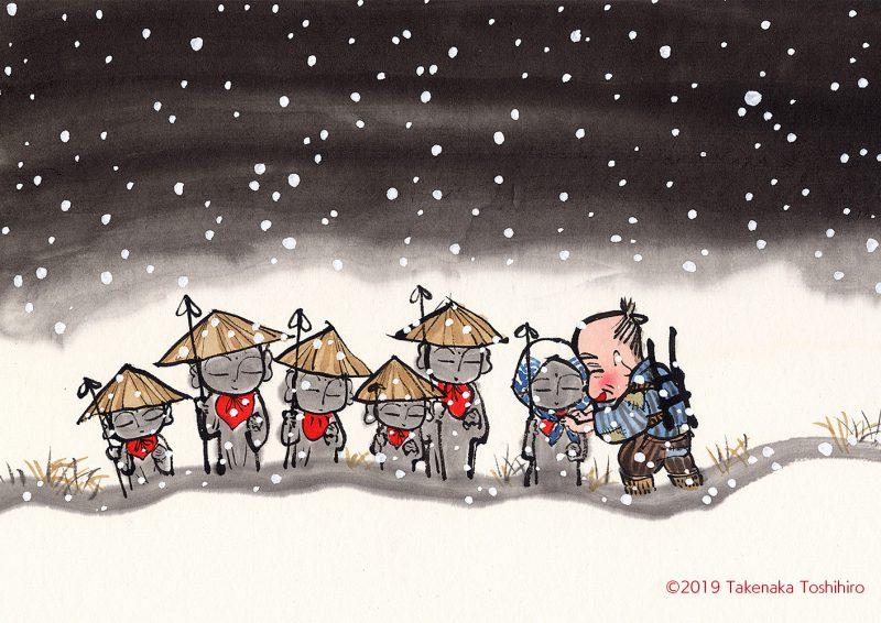 雪の降る大晦日に売れ残った傘をお地蔵様にかけて行くおじいさん。笠地蔵の物語です。