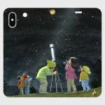 オリジナルスマホケース・冬の寒い中で天体望遠鏡で澄み切った星空を観測する子どもたち