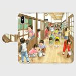 オリジナルスマホケース・木造校舎をみんなで掃除する小学生たちの情景です。