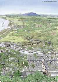 富士山をはるかに見ながら江戸市中に入ってくる参覲交代の大名行列を俯瞰のイラストで描きました。