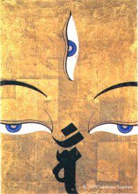 九州グラフィックデザイン展、テーマ「アジア」で製作し会員最高賞をいただいたポスター。金箔押し挑戦し仏画を描いた壁面をイメージして作りました。