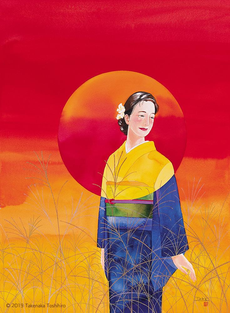 ススキの穂が揺れる真っ赤な夕焼けの中で、重なるように満月の着物を身にまとって振り返る女性