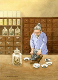 健康食品、サプリメント、トクホメーカーのカタログ表紙イラストで漢方薬を調合する薬剤師を描きました