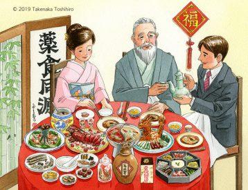 健康食品、サプリメント、トクホメーカーのカタログイラストで薬膳料理で健康で長寿なおじいちゃんと家族を描きました