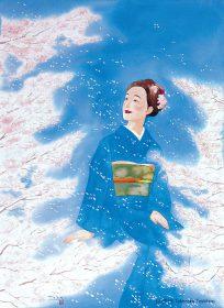 季節の風景を纏う着物の女性・桜舞う春の和服