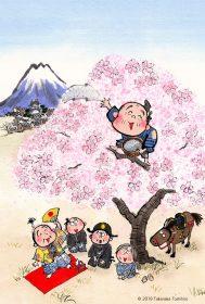 お殿様が通りかかったところで枯れ木に登ったおじいさんが「枯れ木に花を咲かせましょう」と杯を巻くとあら不思議。桜の花が一瞬で満開に咲き誇りました。