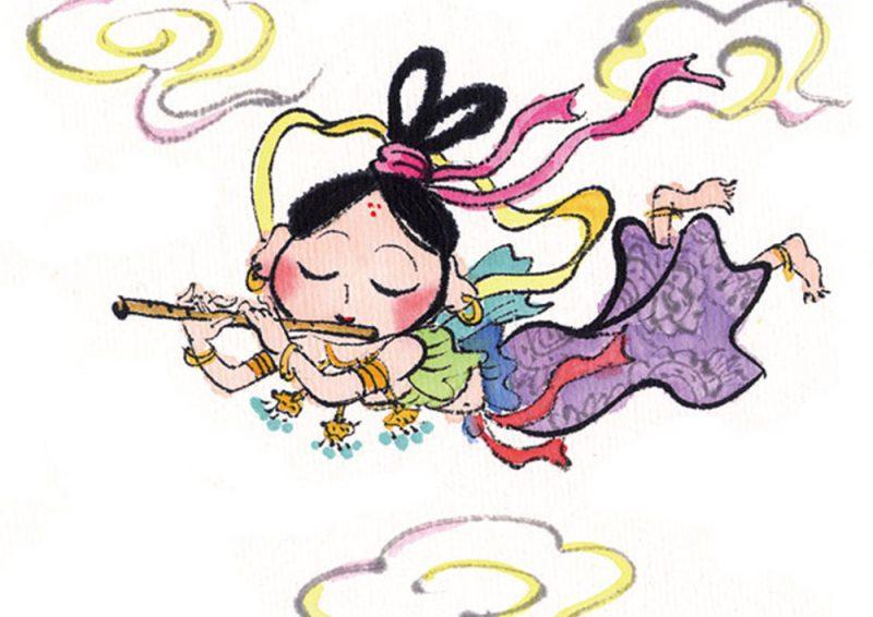 天から心地よい光が差してきて、彩雲の中から飛天が幸福を授けるような音楽を奏でながら舞い降りてきました。