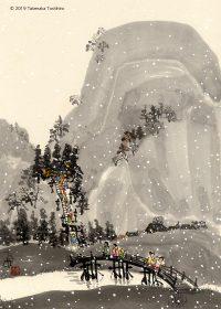 山の上の神社に長い階段を登って初詣に行きました。ちらちら雪が降ってきました。