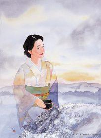 雪山の風景の柄の着物をまとって景色に溶け込んでいる、茶の湯を楽しむ女性