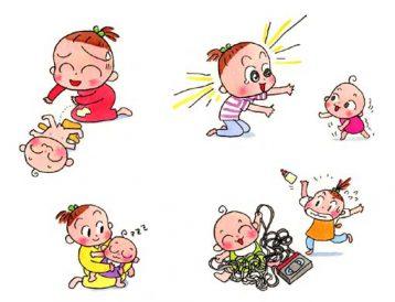平成の初めに描いた福岡の母子手帳のための子育て中のアルアルに関するカット