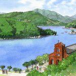 遠藤周作の「沈黙」で舞台となった五島の教会を描いた九州文学シリーズのカレンダーイラスト