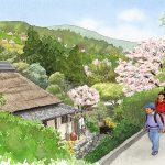 夏目漱石の「草枕」の舞台となった熊本から玉名へ向かう道を描いた九州文学シリーズのカレンダーイラスト