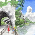 菊池寛「恩讐の彼方に」の舞台、耶馬溪の青の洞門を描いた九州文学シリーズのカレンダーイラスト
