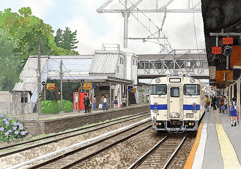 松本清張「点と線」の舞台となったJR香椎駅のホームを描いた九州文学シリーズのカレンダーイラスト
