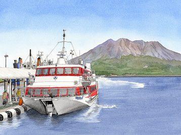 林芙美子「浮雲」の舞台となった鹿児島の港から望む桜島を描いた九州文学シリーズのカレンダーイラスト