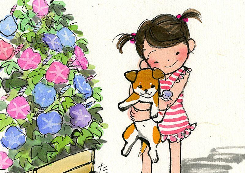 朝顔の咲く夏の朝に牛乳を取りに来た女の子が、追いかけてきた柴犬の子供を抱っこしています