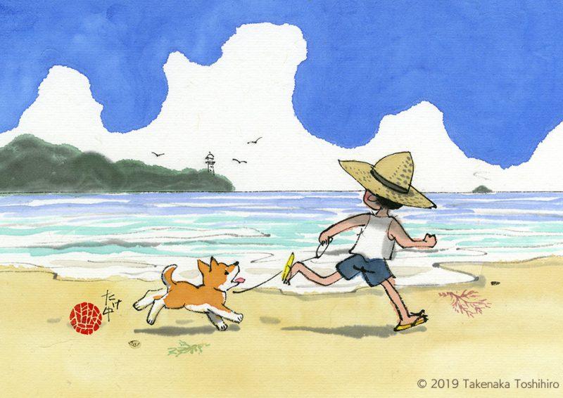 夏の朝、浜辺を元気に散歩する麦わら帽子の少年と柴犬の子供