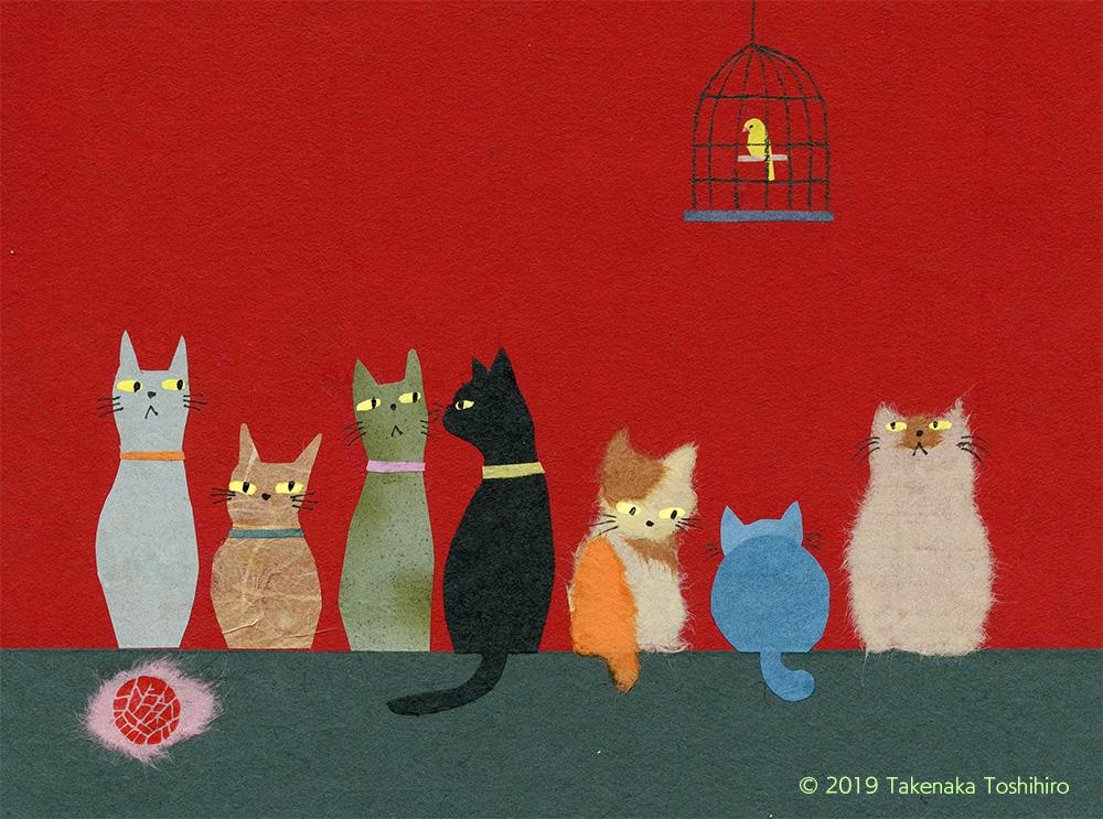 ずらりと並んだネコたちと、カゴに入ったカナリアを和紙の貼り絵で描きました