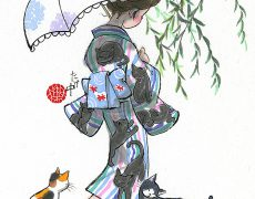 ネコ柄の浴衣を着た女性の後ろ姿と、足元で戯れるネコたちを描きました