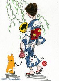 イヌ柄の浴衣を着た女性の後ろ姿と、足元でちょこんと女性に寄り添う柴犬を描きました
