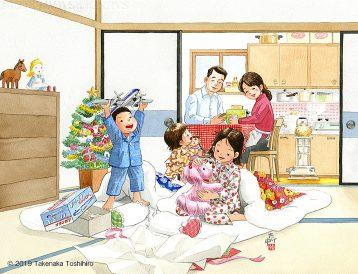 クリスマスの朝、目が覚めたら枕元にサンタさんからのプレゼントがありました。