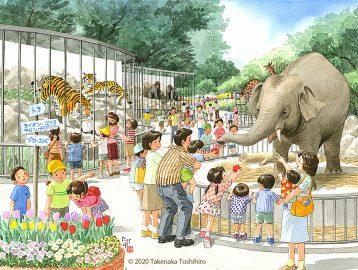 動物園に行ってぞうさんにリンゴをあげました。トラやゴリラ、キリンもいました。