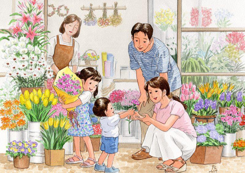 母の日に花を選んで贈るとお母さんはとても喜んでくれました。お父さんもそれを見てニコニコしていました。