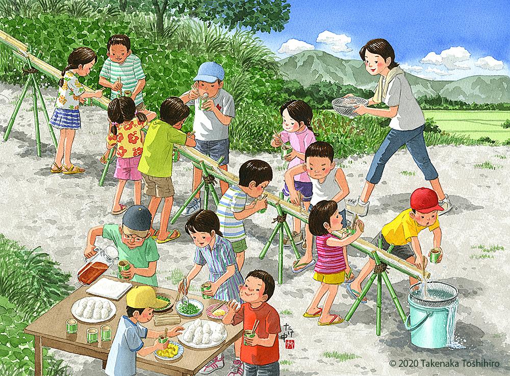山で竹を伐ってきて、児童会でそうめん流しをしました
