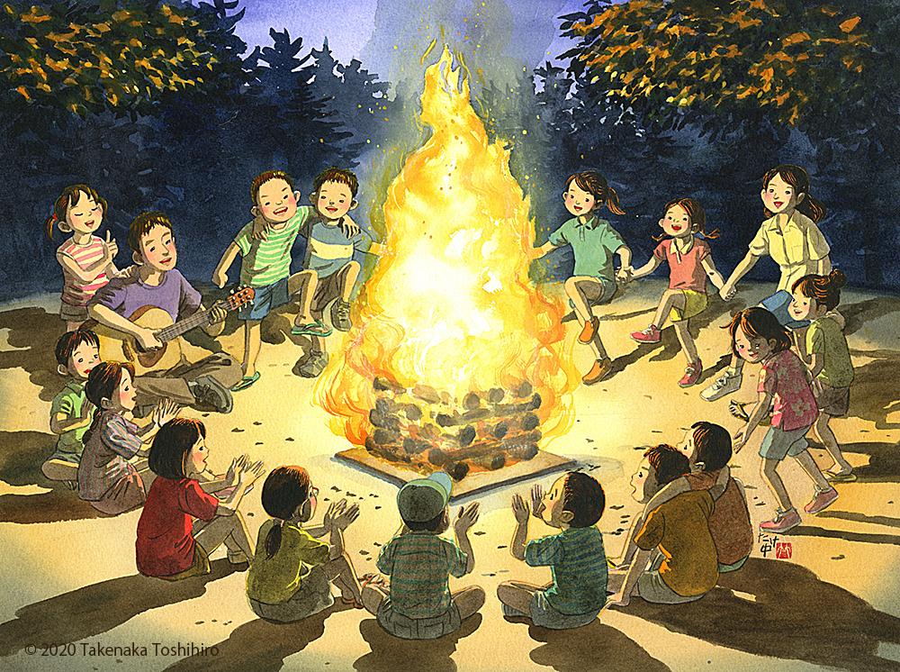 キャンプファイヤーを囲んでギターに合わせてみんなで歌やダンスをしました