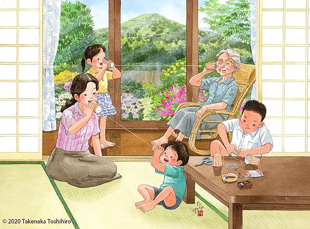 敬老の日におばあちゃんと糸電話でお話ししました