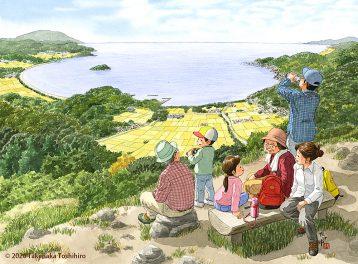 山登りで僕の住む街が一望できた。黄金に実る稲穂がゆれる田んぼや海、山が美しい。