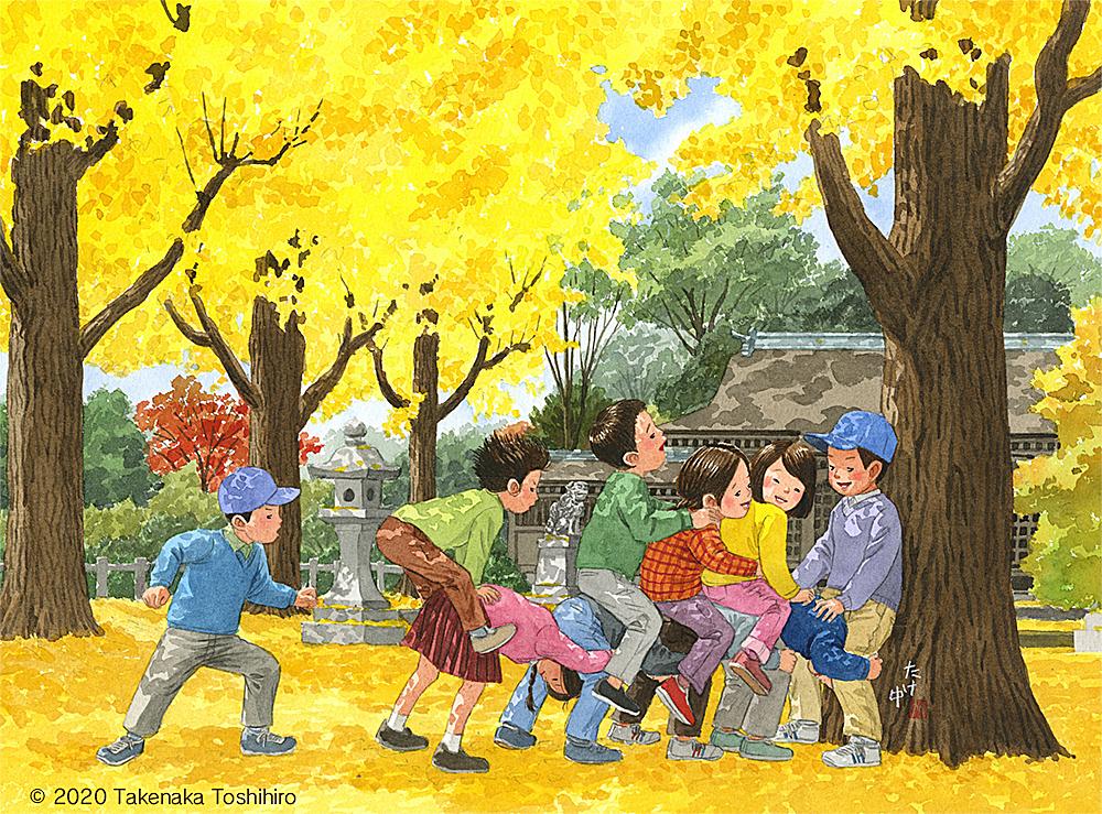 神社のイチョウの木で馬乗り(馬跳び)遊び。