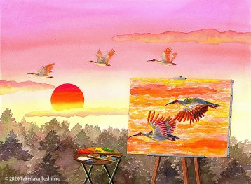 初日を背景に飛ぶトキの群れをキャンバスに描くシーン