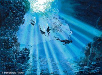 沖縄県恩納村の真栄田岬崖下にあるコバルトブルーも美しいダイビングスポット、青の洞窟