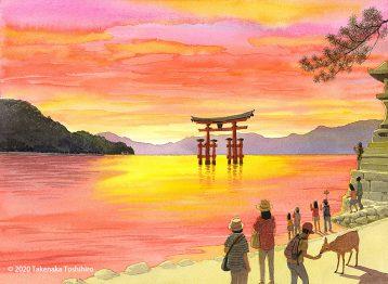 安芸の宮島、厳島神社の海に浮かぶ大鳥居がある御笠浜は夕陽に照り映えて茜色に染まります