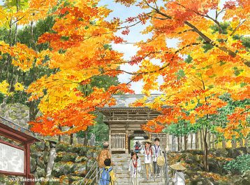四国巡礼、八十八ヶ所霊場結願の寺、八十八札所「大窪寺」の紅葉はお遍路さんの目も心も豊かにしてくれます