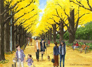見上げた木々も足元も黄金色に染まる明治神宮外苑のイチョウ並木を歩くだけでロマンチック