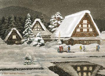 飛騨の山々に囲まれ雪の降り積もる白川郷は、ライトアップも美しい