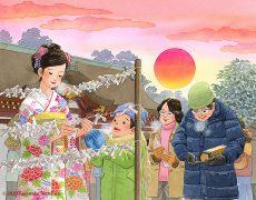 初日の出の頃に氏神の神社で初詣した後は今年の運勢を確かめるおみくじを引きました