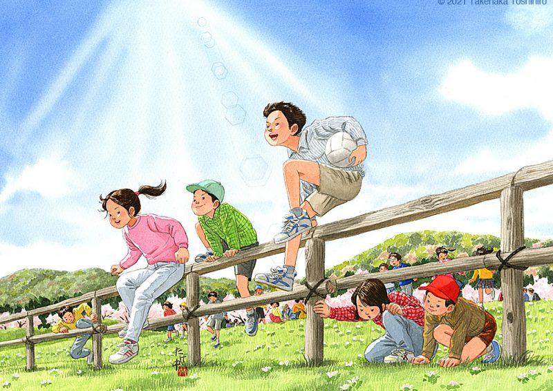 春の遠足でお弁当を一気に食べてボール遊びの場所取りに猛ダッシュ